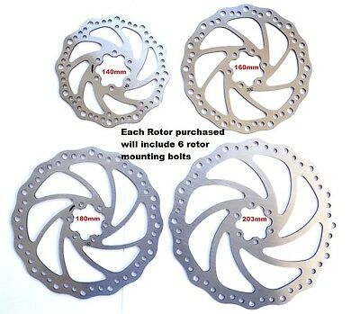 410 Stainless Steel  Disc Brake Rotors, 140mm, 160mm, 180mm, 203mm, incl bolts