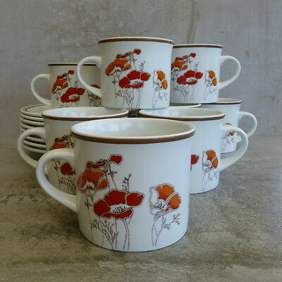 8  Royal Doulton Field Flowers Cups and Saucers 1976 Made in England Lambethware