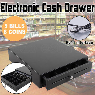 RJ11 Electronic/Manual Heavy Duty Cash Drawer Cash Register POS 4 Bills 5 Coins