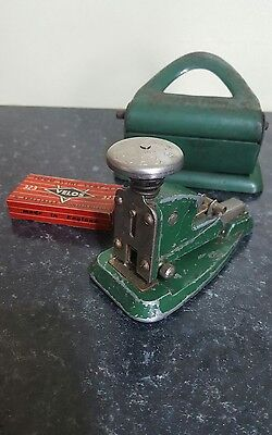 Vintage Velos No.323 Green & Silver Coloured Stapler & 4314 paper punch