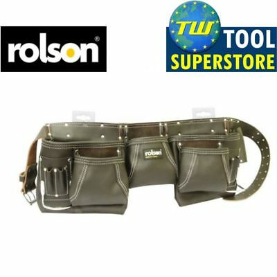 Rolson Heavy Duty 13 Pocket Professional Double Pouch Oil Tan Leather Tool Belt