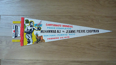 *REDUCED* VINTAGE MUHAMMAD ALI v JEANNE PIERRE COOPMAN 1976 BOXING FIGHT PENNANT
