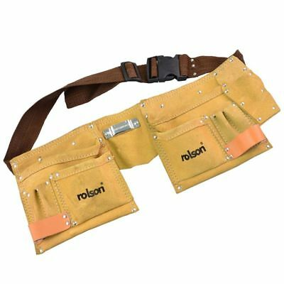 Rolson 10 Pocket Leather Double Pouch Hammer Holder Tool Belt for Apprentice DIY