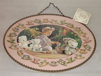 Gallery Graphics Girl Teddy Bear Teacups Flue Cover Gorgeous Pastel Colors Chain