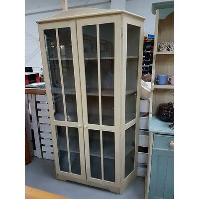 painted display glass cabinet unit solid wood shabby chic