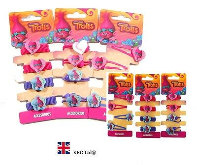 TROLLS HAIR ACCESSORIES Poppy Bobble Clips Girls Kids Bands Birthday Gift Pack