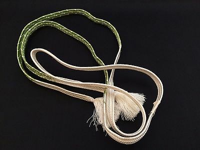 Vintage authentic Japanese obijime cord for kimono, white and green (B956)