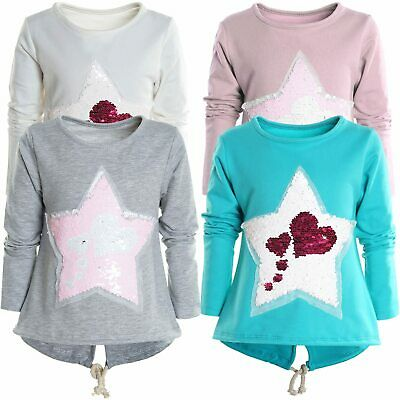 Mädchen Wende Pailletten Long Shirt Bluse Pullover Langarm Sweat Shirt 21000