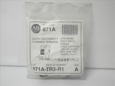 871A-TR3-R1 Allen Bradley Ser. A 3 pin micro right angle female  (New)