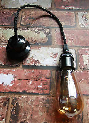 Restored Black Pendant Set - Bakelite Ceiling Rose & E27 Lamp Holder, Free Bulb