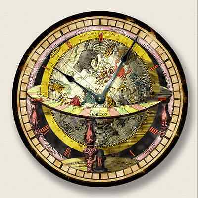 GLOBE MAP wall CLOCK - Vintage Print - Antique Old World Look - 7012_FTLLC