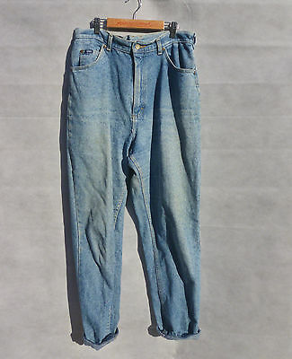 "Vintage 1990s Lee High Waisted Tapered Blue Stonewash Denim Mom Jeans 14-16 33""W"