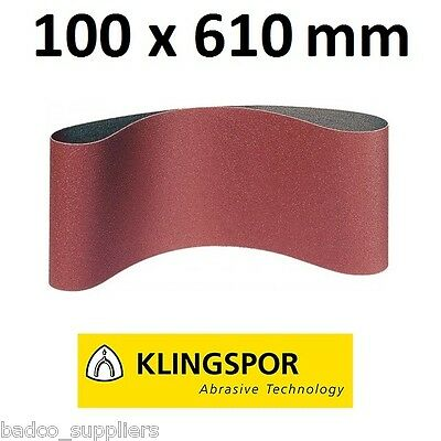 10x Sanding Belts 100 x 610mm KLINGSPOR Sandpaper , WOOD METAL PAINT FILLER