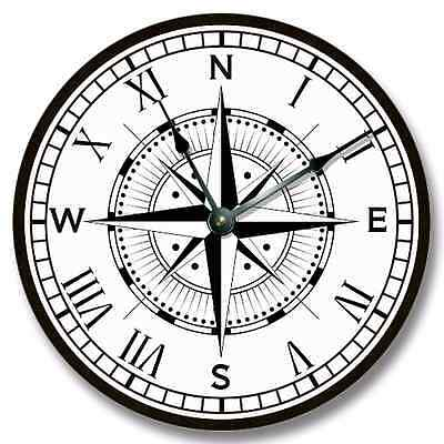 Compass Rose Pattern Wall CLOCK - Beachy and Nautical Home Decor - 7130_FTLLC