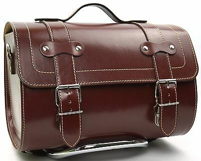 Medium Leather Top Case Roll Bag Vespa Primavera PX LX LXV GTS GTV Vintage Brown