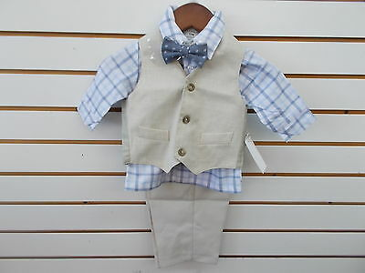 Infant Boys Perry Ellis $45 4pc Khaki Vest Suit Size 12 Months - 24 Months