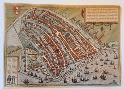 Near Mint 14x20 Late 1800's Hand Colored Restruck Engraving Of Early Amsterdam
