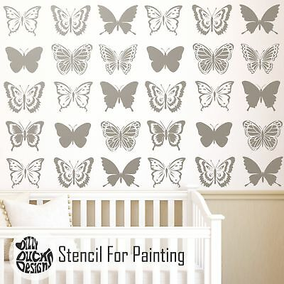 BUTTERFLY SET OF 6 Nursery or Girls Room - Furniture Wall Stencil for Painting