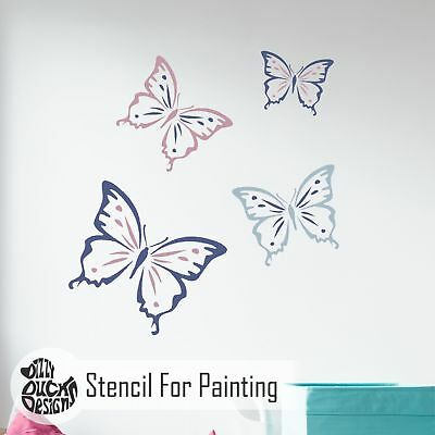 CLARA BUTTERFLY Nursery Girls Bedroom - Furniture Wall Stencil for Painting