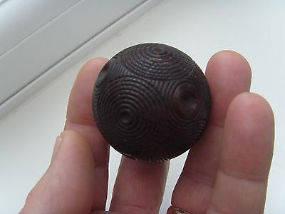 "Antique Victorian 1.6"" Carved Wooden / Treen Puzzle Ball Snuff Box, Circa 1800s."