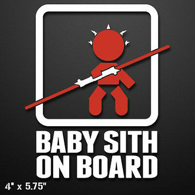 BABY SITH ON BOARD (MAUL) Vinyl Decal Sticker