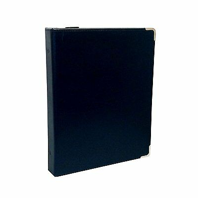 3 Ring Zipper Binder, Portfolio Binder, Round Rings, Leather-Like Navy Blue