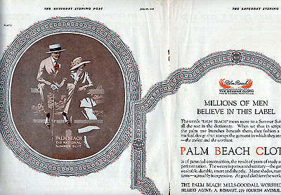 1918 Palm Beach Clothing Ad ---Art by Hans Flato---2 Page Centerfold  --- t380