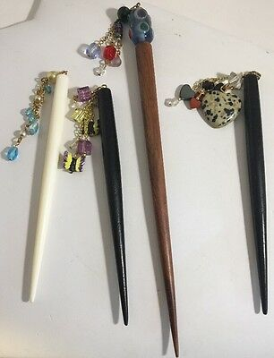 Vintage Hair Sticks 4 Glass Beads Pearls Gemstones Wood Accessory
