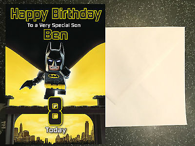Batman Lego Movie Birthday Card Personalised A5 Large Any Name Age
