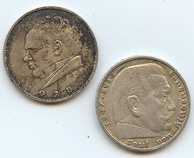 Germany & Austria Pair of Coins (#763) 1935A 5 Mark Nice XF & 1928 2 Shilling Lo