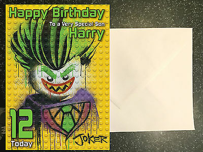 Batman Lego Movie Joker Birthday Card Personalised A5 Large Any Name
