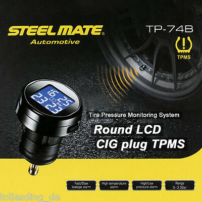 Wireless TPMS Car Tire Tyre Pressure Monitoring System W/ 4 External Sensors LCD