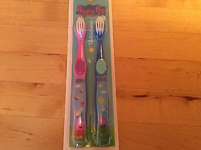 BNIP New Peppa Pig Dental Pack of 2 Toothbrushes - One Pink One Blue - George