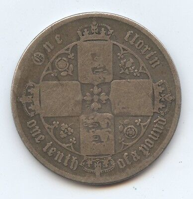 Great Britain Old Vict. Florin (#769) VG. Carefully Check out the Photos.