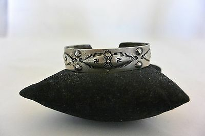 old Navajo WHIRLING LOGS / SWASTIKAS BRACELET Coin or Sterling Silver REPOUSSE'