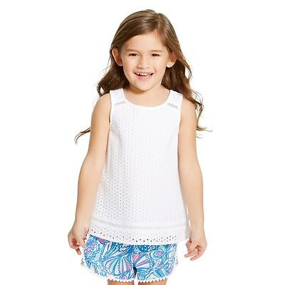 Lilly Pulitzer For Target Kids Toddlers Girls Eyelet White Cotton Tank Top 3 T