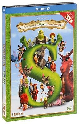 Shrek The Complete Collection 3D (Blu-ray, 5-disc set) Multilingual, *NEW*