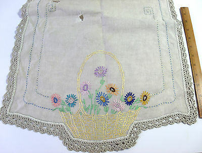 Lot 3 Vintage Linen Table Runners Hand Embroidered Crocheted Basket Excellent