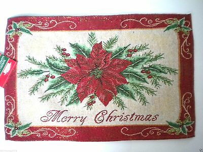 """2 Glittery """"merry Christmas"""" Poinsettia Tapestry Placemats"""