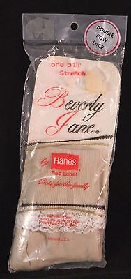 Vintage Beverly Jane Red Label Girls Socks Double Row Lace Beige