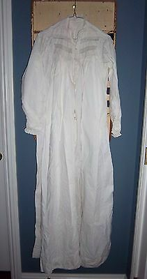 Victorian White Cotton & Lace Long Sleeve Robe Nightgown STUNNING