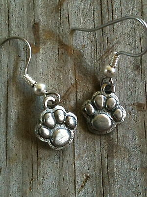 3D Small Dog Cat Tiger Paw Print Silver Plated Pewter Earrings