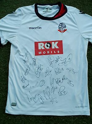 BOLTON WANDERERS Shirt Hand Signed by 2016/2017 Squad - 21 Autographs - Clough