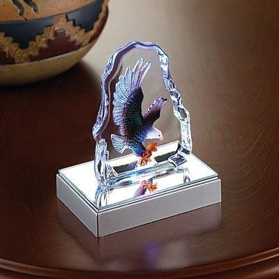 Patriotic American Bald Eagle Eagle Crystal Sculpture - Bird Eagle Led Figurine