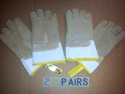 New 2 Pairs Bundle 171-Fm Leather Welding Glove 13'' Xl 4'' Cuff High Heat Flame
