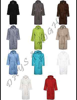 Unisex Belted Hooded 100% Egyptian Cotton Terry Towelling Bathrobe Dressing Gown
