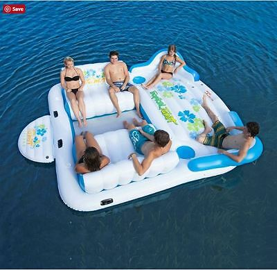 Tropical Tahiti Floating Island Inflatable Raft Float 6 Person Lake Pool Party