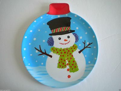 """Christmas """"snowman"""" 8"""" Melamine Ornament Shaped Candy/cookie Plate"""