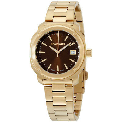 Wenger Bronze Dial Gold Tone Stainless Steel Ladies Watch 011121105