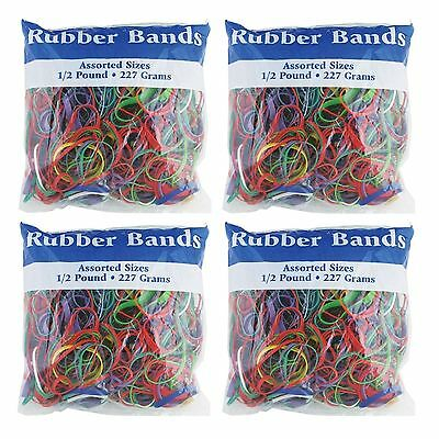BAZIC Assorted Rubber Bands 1/2 Pound - 227 grams (Pack of 4)